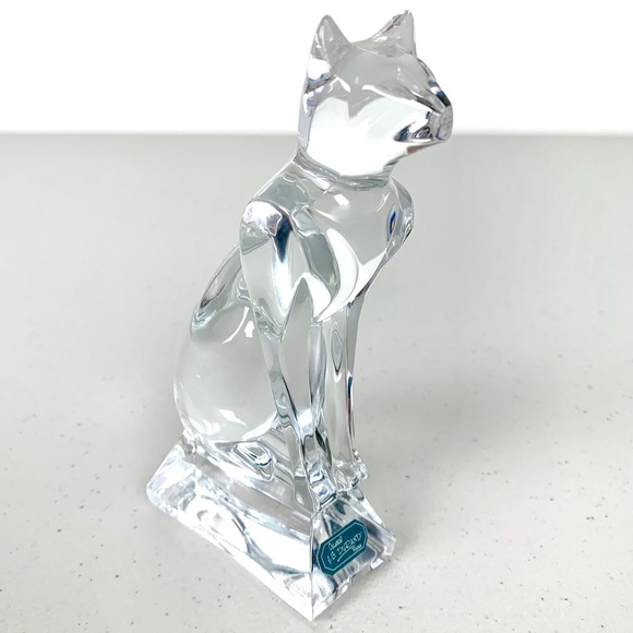 J.G. Durand Cristal d'Arques Other - J.G. Durand Cristal d'Arques Crystal Cat Figurine